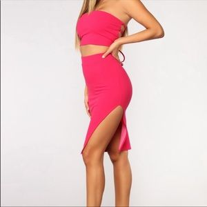 Fashion Nova pink skirt and crop top set